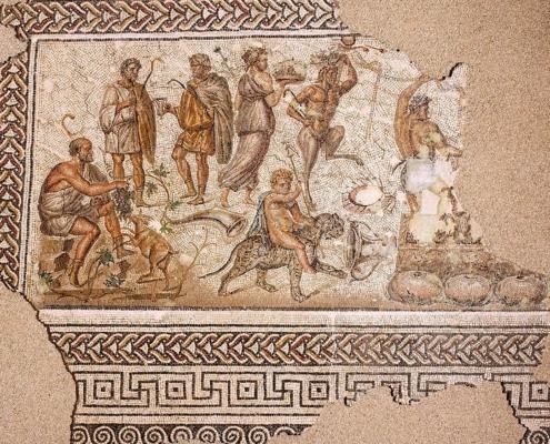 """Mosaico báquico del """"don del vino"""""""