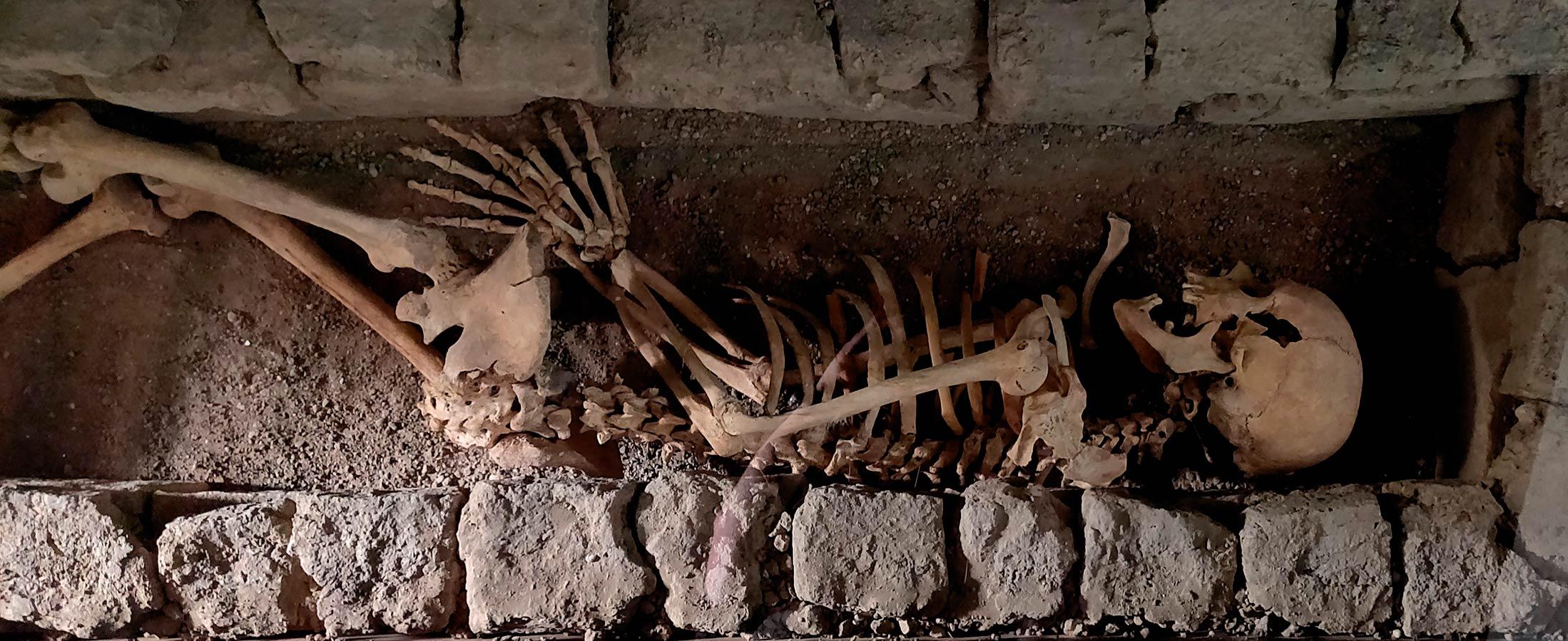 Esqueleto del cementerio andalusí de la Plaza de España
